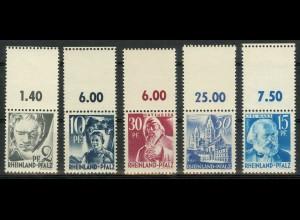 Frz. Zone Rh. Pfalz, 5 versch. Marken mit Leerfeld, postfrisch, Mi. 70,- (9433)