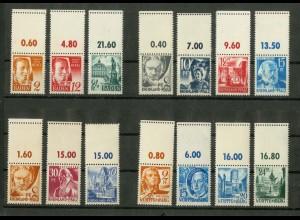 Frz. Zone, 14 versch. Marken mit Leerfeld, postfrisch, Mi. 230,- (9441)