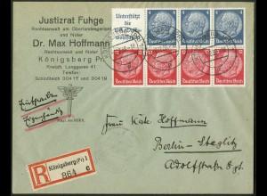 Dt. Reich, HBl. 89 als Einzelfrankatur auf R-Brief (9466)
