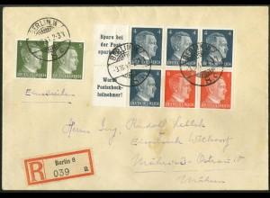 Dt. Reich, HBl. 119, portogerecht (3.10.41 !!!) R-Brief Mährisch-Ostrau (9469)
