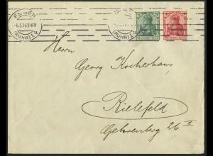 Dt. Reich, W 7 I ab, Einzelfrankatur, Fern-Brief, Mi. gest. bereits 90,- (9677)