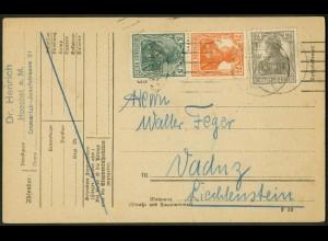 Dt. Reich, S 3 ab, portogerecht auf Auslands-Karte, Mi. 60,- (9679)