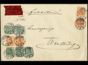 Dt. Reich, S 3 ab (2), unterfrankiert auf Orts-Eil-Brief, Mi. 90,- (9682)