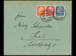Dt. Reich, W 46, portogerecht auf Fern-Brief, Mi. 100,- (9714)
