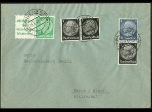 Dt. Reich, W 88.1 + S 171, portogerecht auf Fern-Brief, Mi. 40,- (9744)