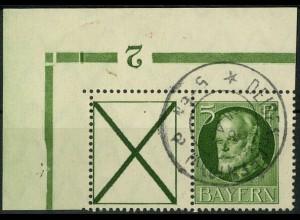 Bayern, Zd. W 5 A, gestempelt, Eckrandstück mit Aufl.-Nr., Mi. 45,- ++ (10321)
