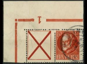 Bayern, Zd. W 6 A, gestempelt, Eckrandstück mit Aufl.-Nr., Mi. 45,- ++ (10322)