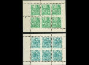 DDR, HBl. 7 + 8 A, je 100 postfrische Heftchenblätter, Mi. 1100,- ++ (10340)