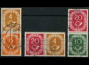 Bund, W 2, S 1, S 9, drei gestempelte Posthorn-Zd., Mi. 37,- (10361)