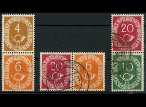 Bund, W 2, S 1, S 9, drei gestempelte Posthorn-Zd., Mi. 37,- (10362)
