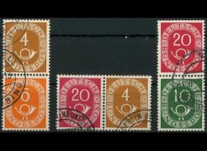 Bund, W 2, S 1, S 9, drei gestempelte Posthorn-Zd., Mi. 37,- (10363)