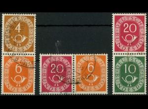 Bund, W 2, S 1, S 9, drei gestempelte Posthorn-Zd., Mi. 37,- (10364)