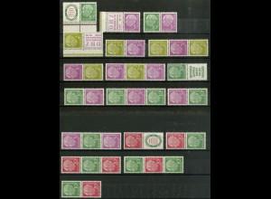 Bund, 18 postfrische Heuss-Zd. aus MH 2, Mi. 132,- (10369)