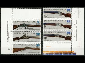 DDR, Mi. 2376-2381, 2 Zd. mit Leerfelder + Druckvermerk, postfrisch, Mi. 60,- (10404)