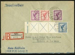 Dt. Reich, RL 15.2 StrL unterbrochen + W 22, R-Brief, Mi.-Handbuch 380,- (10464)