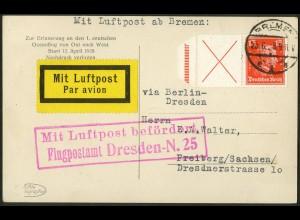 Dt. Reich, W 23, Einzelfrankatur auf Lp-Karte, Mi. 220,- (10470)