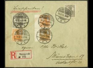 Dt. Reich, S 7 ba LR 0, portogerechter R-Brief, Mi.-Handbuch 550,- (10507)