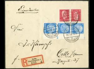 Dt. Reich, K 14, portogerechter R-Brief, Mi.-Handbuch 130,- (10524)
