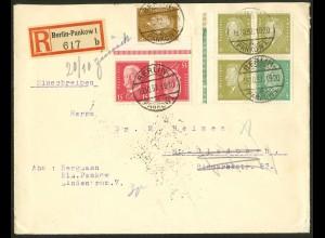 Dt. Reich, K 14 OR + W 28 LR 2, auf Retour-R-Brief, Mi.-Handbuch 100,- (10529)