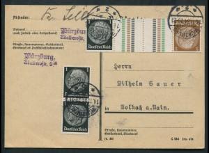 Dt. Reich, KZ 20, portogerechte Postkarte, Mi. 40,- (10735)