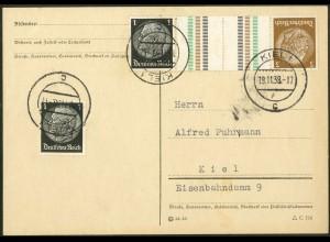 Dt. Reich, KZ 20, portogerechte Orts-Postkarte, Mi. 40,- (10736)