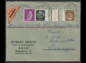 Dt. Reich, KZ 20, portogerechter Nachnahme-Brief, Mi. 40,- (10737)