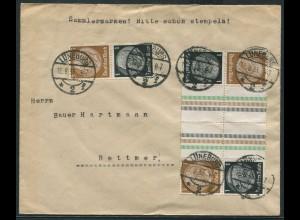 Dt. Reich, KZ 20 (2), S 117, portogerechter Fern-Brief, Mi. 80,- (10741)