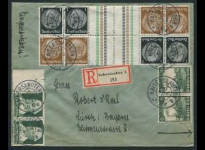 Dt. Reich, KZ 20 (2), S 115 (2), portogerechter R-Brief, Mi. 68,- (10745)