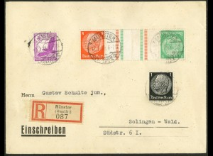 Dt. Reich, KZ 21.1, portogerecht auf R-Brief, Mi. 50,- (10758)