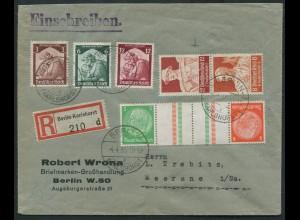 Dt. Reich, KZ 21.1, S 229, portogerecht auf R-Brief, Mi. 68,- (10759)