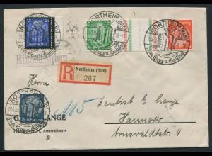 Dt. Reich, KZ 21.1, portogerecht auf R-Brief, Mi. 50,- (10760)