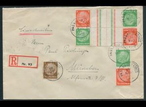 Dt. Reich, KZ 21.1 (2) + S 119, portogerecht auf R-Brief, Mi. 79,- (10761)