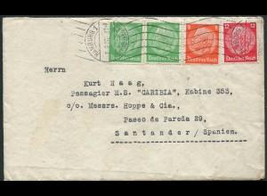 Dt. Reich, Hamburger Straßenbahnpost 1936, portoger. Auslands-Brief (10991)