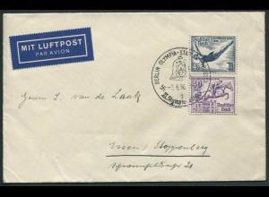 Dt. Reich, Bl S 6, Block-Zd. Einzelfrankatur auf Lufpost-Brief (11044)