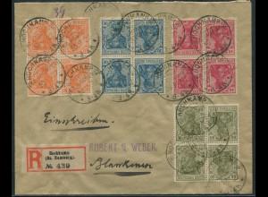 Dt. Reich, K 4 (2) + 6 Zd., auf R-Brief, Mi.-Handbuch 143,- (11048)