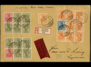 Dt. Reich, WK 3 (2), WK 1, K 1 (2), K 4 (2), portogerecht, Mi. 2860,- (11050)