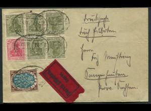 Dt. Reich, WK 3 + K 4, auf Drucksachen-Eil-Brief, Mi. für Brief 1600,- (11054)