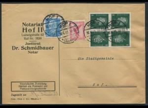 Dt. Reich, K 12 (2), portogerechte Zustellurkunde, Mi. 140,- (11058)
