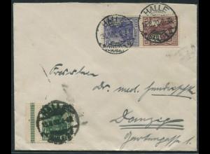 Dt. Reich, S 10, portogerechter Fern-Brief nach Danzig (11213)