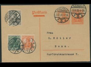 Dt. Reich, W 5 ab, portogerechte Ganzsachen-Karte, Befund BPP, Mi. 120,- (11214)