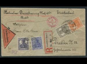Dt. Reich, S 11 a, portogerechter Nachnahme-R-Brief, gepr. BPP (11221)