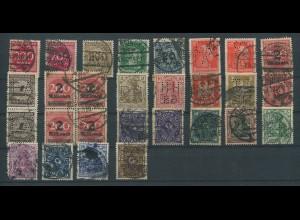 Dt. Reich, Lot mit Lochungen, 28 gestempelte Marken auf Steckkarte (11234)