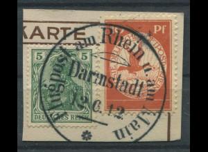 Dt. Reich, Mi. I, Flugpost auf Briefstück, Mi. 30,- (11235)