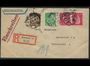 Dt. Reich, K 14, portogerechter Orts-R-Brief, Mi.-Handbuch 130,- (11240)