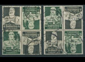 Dt. Reich, K 23 (4), zwei versch. Viererblocks, gestempelt, Mi. 100,- (11286)