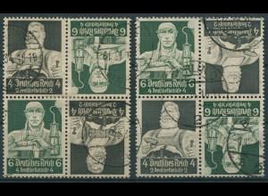 Dt. Reich, K 23 (4), zwei versch. Viererblocks, gestempelt, Mi. 100,- (11287)