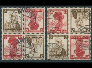 Dt. Reich, K 26 (4), zwei versch. Viererblocks, gest., Mi. 48,- (11291)