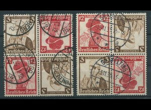 Dt. Reich, K 26 (4), zwei versch. Viererblocks, gest., Mi. 48,- (11292)