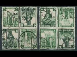 Dt. Reich, K 25 (4), zwei versch. Viererblocks, gest., Mi. 48,- (11293)