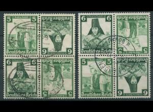 Dt. Reich, K 25 (4), zwei versch. Viererblocks, gest., Mi. 48,- (11294)